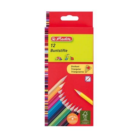 Карандаши цветные трехгранные, 12шт