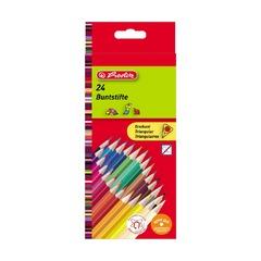 Карандаши цветные трехгранные, 24шт