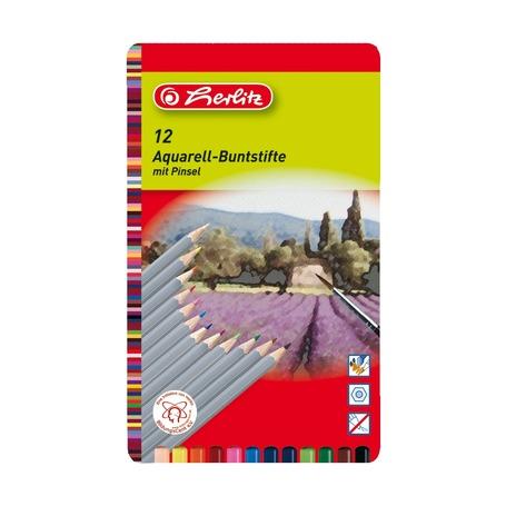 Карандаши цветные акварельные 12 шт+кисть