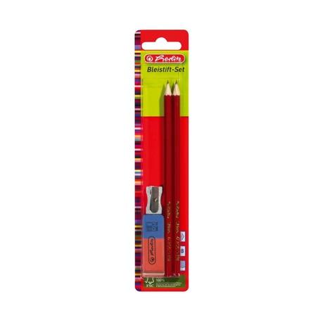 Набор Herlitz: 2 карандаша, точилка, ластик