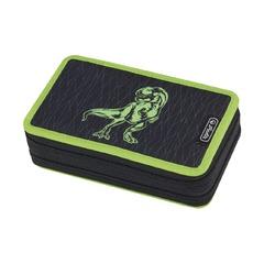 Пенал Green Dino, 2 молнии, 23 предмета