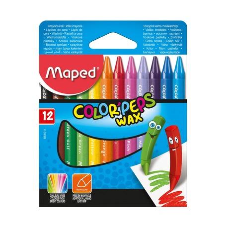 Восковые мелки Maped Wax, трехгранные, 12 шт