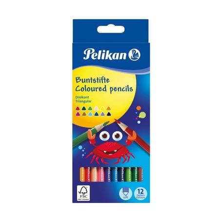 Цветные трехгранные карандаши Pelikan, 12 цветов
