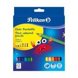 Цветные трехгранные карандаши Pelikan, 12 цветов и точилка
