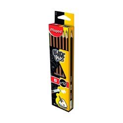 Чернографитный карандаш Maped B с ластиком, 1 шт.