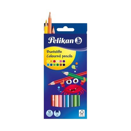 Карандаши шестигранные цветные Pelikan, 12 цветов, 3 мм