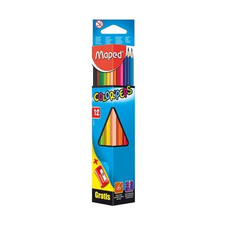 Цветные карандаши Maped Color'peps, трехгранные, 12 шт. и точилка