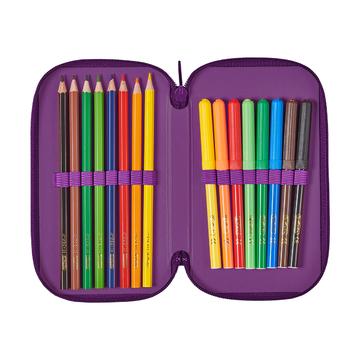 Пенал Purple Butterfly, 2 молнии, 23 предмета